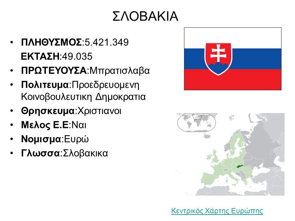 ΣΛΟΒΑΚΙΑ ΠΛΗΘΥΣΜΟΣ:5.421.349 ΕΚΤΑΣΗ:49.035 ΠΡΩΤΕΥΟΥΣΑ:Μπρατισλαβα Πολιτευμα:Προεδρευομενη Κοινοβουλευτικη Δημοκρατια Θρησκευμα:Χριστιανοι Μελος Ε.Ε:Ναι Νομισμα:Ευρώ Γλωσσα:Σλοβακικα Κεντρικός Χάρτης Ευρώπης