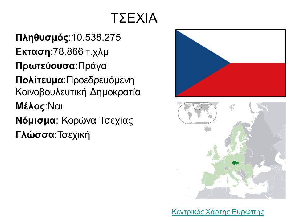 ΤΣΕΧΙΑ Πληθυσμός:10.538.275 Εκταση:78.866 τ.χλμ Πρωτεύουσα:Πράγα Πολίτευμα:Προεδρευόμενη Κοινοβουλευτική Δημοκρατία Μέλος:Ναι Νόμισμα: Κορώνα Τσεχίας Γλώσσα:Τσεχική Κεντρικός Χάρτης Ευρώπης