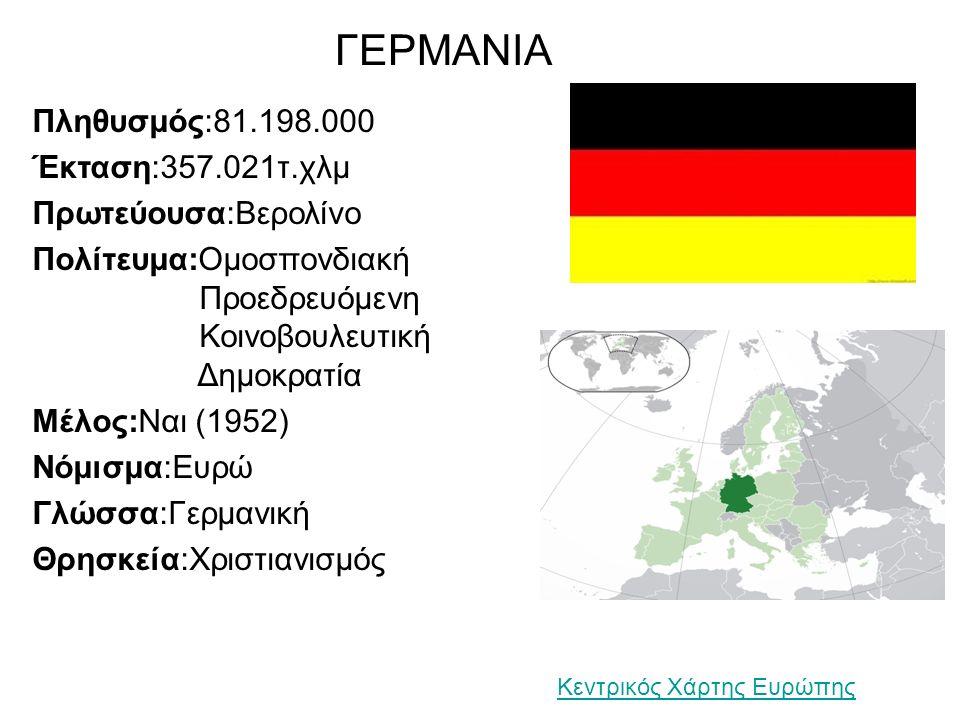 ΓΕΡΜΑΝΙΑ Πληθυσμός:81.198.000 Έκταση:357.021τ.χλμ Πρωτεύουσα:Βερολίνο Πολίτευμα:Ομοσπονδιακή Προεδρευόμενη Κοινοβουλευτική Δημοκρατία Μέλος:Ναι (1952) Νόμισμα:Ευρώ Γλώσσα:Γερμανική Θρησκεία:Χριστιανισμός Κεντρικός Χάρτης Ευρώπης
