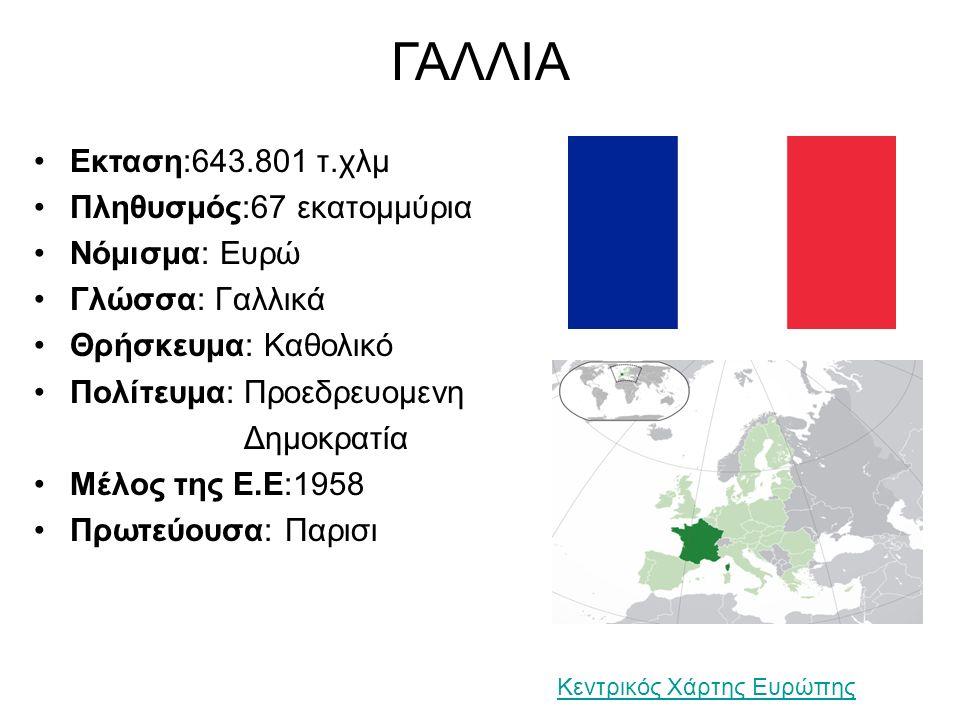 ΓΑΛΛΙΑ Εκταση:643.801 τ.χλμ Πληθυσμός:67 εκατομμύρια Νόμισμα: Ευρώ Γλώσσα: Γαλλικά Θρήσκευμα: Καθολικό Πολίτευμα: Προεδρευομενη Δημοκρατία Μέλος της Ε.Ε:1958 Πρωτεύουσα: Παρισι Κεντρικός Χάρτης Ευρώπης