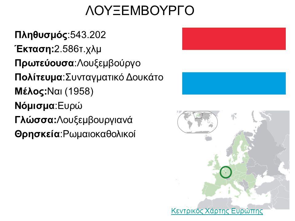 ΛΟΥΞΕΜΒΟΥΡΓΟ Πληθυσμός:543.202 Έκταση:2.586τ.χλμ Πρωτεύουσα:Λουξεμβούργο Πολίτευμα:Συνταγματικό Δουκάτο Μέλος:Ναι (1958) Νόμισμα:Ευρώ Γλώσσα:Λουξεμβουργιανά Θρησκεία:Ρωμαιοκαθολικοί Κεντρικός Χάρτης Ευρώπης
