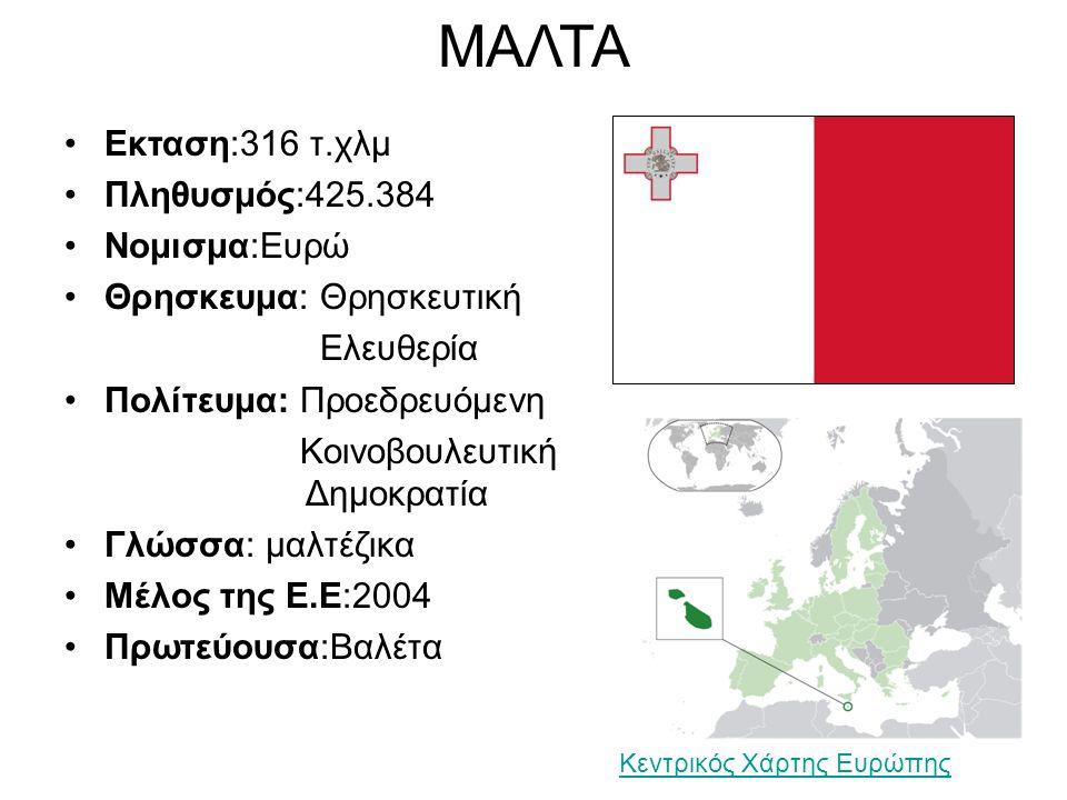 ΜΑΛΤΑ Εκταση:316 τ.χλμ Πληθυσμός:425.384 Νομισμα:Ευρώ Θρησκευμα: Θρησκευτική Ελευθερία Πολίτευμα: Προεδρευόμενη Κοινοβουλευτική Δημοκρατία Γλώσσα: μαλτέζικα Μέλος της Ε.Ε:2004 Πρωτεύουσα:Βαλέτα Κεντρικός Χάρτης Ευρώπης