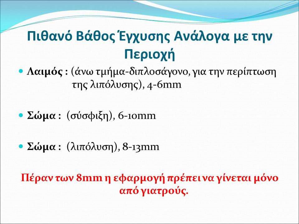 Πιθανό Βάθος Έγχυσης Ανάλογα με την Περιοχή Λαιμός : (άνω τμήμα-διπλοσάγονο, για την περίπτωση της λιπόλυσης), 4-6mm Σώμα : (σύσφιξη), 6-10mm Σώμα : (
