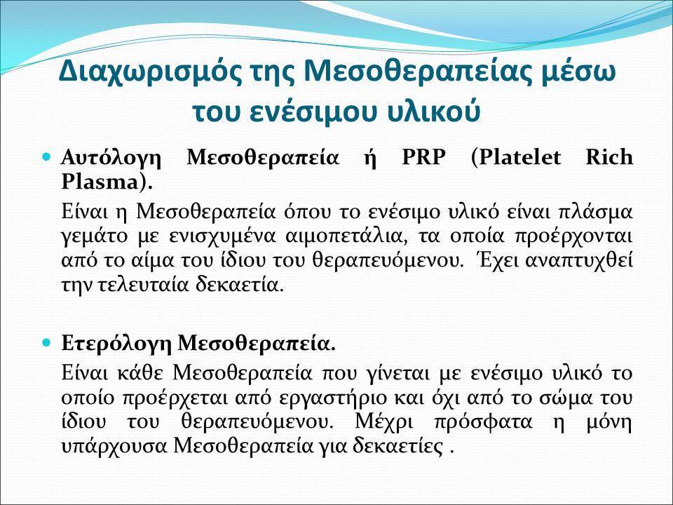 Διαχωρισμός της Μεσοθεραπείας μέσω του ενέσιμου υλικού Αυτόλογη Μεσοθεραπεία ή PRP (Platelet Rich Plasma). Είναι η Μεσοθεραπεία όπου το ενέσιμο υλικό