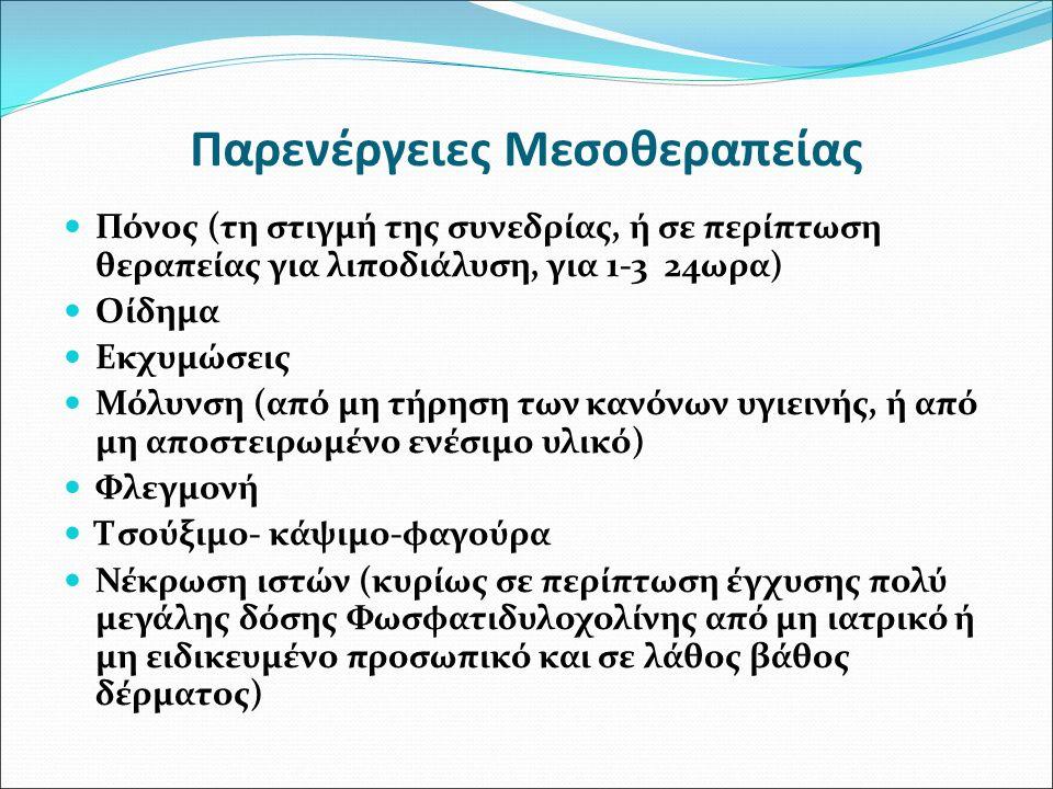Παρενέργειες Μεσοθεραπείας Πόνος (τη στιγμή της συνεδρίας, ή σε περίπτωση θεραπείας για λιποδιάλυση, για 1-3 24ωρα) Οίδημα Εκχυμώσεις Μόλυνση (από μη