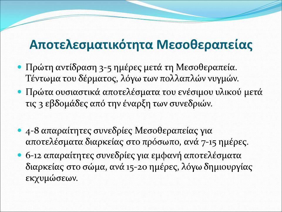 Αποτελεσματικότητα Μεσοθεραπείας Πρώτη αντίδραση 3-5 ημέρες μετά τη Μεσοθεραπεία. Τέντωμα του δέρματος, λόγω των πολλαπλών νυγμών. Πρώτα ουσιαστικά απ