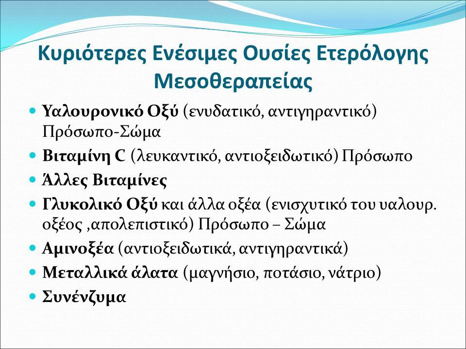 Κυριότερες Ενέσιμες Ουσίες Ετερόλογης Μεσοθεραπείας Υαλουρονικό Οξύ (ενυδατικό, αντιγηραντικό) Πρόσωπο-Σώμα Βιταμίνη C (λευκαντικό, αντιοξειδωτικό) Πρ