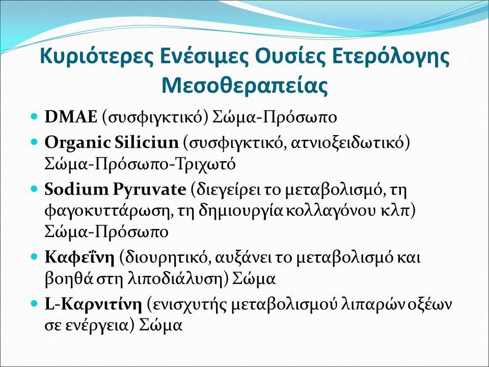 Κυριότερες Ενέσιμες Ουσίες Ετερόλογης Μεσοθεραπείας DMAE (συσφιγκτικό) Σώμα-Πρόσωπο Organic Siliciun (συσφιγκτικό, ατνιοξειδωτικό) Σώμα-Πρόσωπο-Τριχωτ