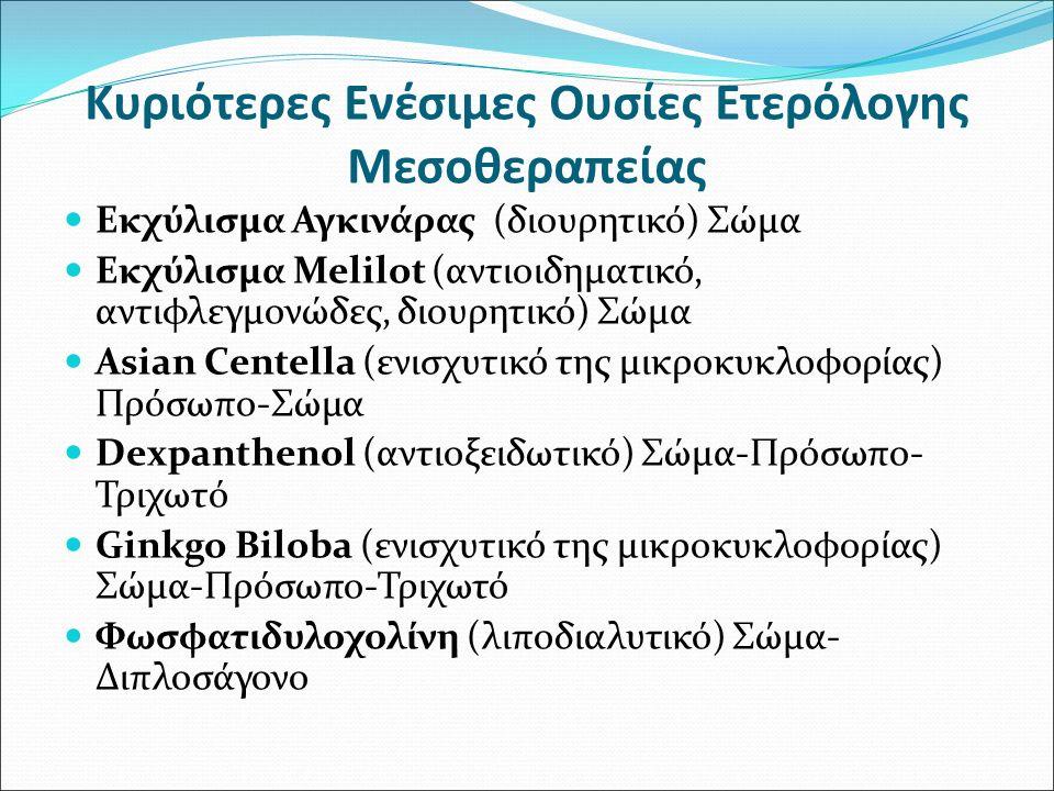 Κυριότερες Ενέσιμες Ουσίες Ετερόλογης Μεσοθεραπείας Εκχύλισμα Αγκινάρας (διουρητικό) Σώμα Εκχύλισμα Melilot (αντιοιδηματικό, αντιφλεγμονώδες, διουρητι