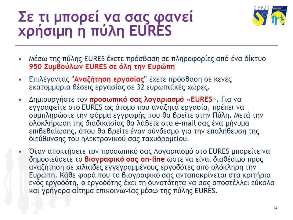 14 Σε τι μπορεί να σας φανεί χρήσιμη η πύλη EURES Μέσω της πύλης EURES έχετε πρόσβαση σε πληροφορίες από ένα δίκτυο 950 Συμβούλων EURES σε όλη την Ευρώπη Επιλέγοντας Αναζήτηση εργασίας έχετε πρόσβαση σε κενές εκατομμύρια θέσεις εργασίας σε 32 ευρωπαϊκές χώρες.