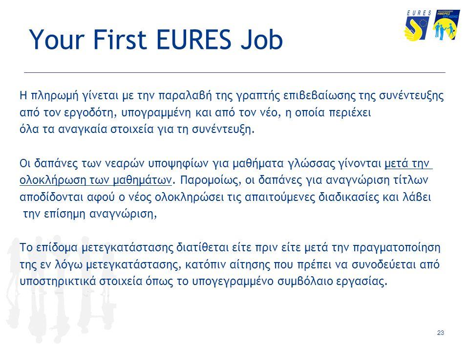 Your First EURES Job Η πληρωμή γίνεται με την παραλαβή της γραπτής επιβεβαίωσης της συνέντευξης από τον εργοδότη, υπογραμμένη και από τον νέο, η οποία περιέχει όλα τα αναγκαία στοιχεία για τη συνέντευξη.