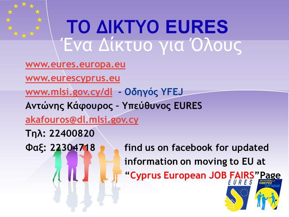 ΤΟ ΔΙΚΤΥΟ EURES Ένα Δίκτυο για Όλους www.eures.europa.eu www.eurescyprus.eu www.mlsi.gov.cy/dlwww.mlsi.gov.cy/dl - Οδηγός ΥFEJ Αντώνης Κάφουρος – Υπεύθυνος EURES akafouros@dl.mlsi.gov.cy Τηλ: 22400820 Φαξ: 22304718 find us on facebook for updated information on moving to EU at Cyprus European JOB FAIRS Page