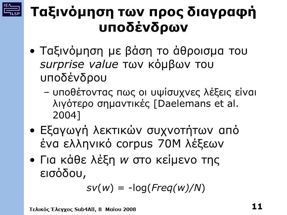Τελικός Έλεγχος Sub4All, 8 Μαΐου 2008 11 Ταξινόμηση των προς διαγραφή υποδένδρων Ταξινόμηση με βάση το άθροισμα του surprise value των κόμβων του υποδένδρου –υποθέτοντας πως οι υψίσυχνες λέξεις είναι λιγότερο σημαντικές [Daelemans et al.