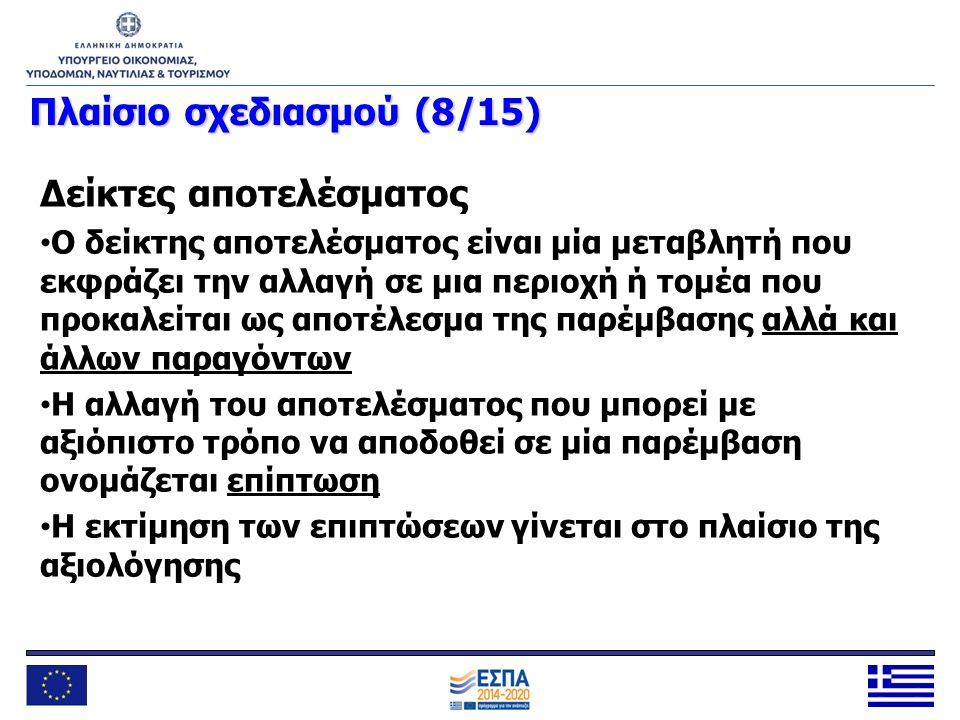 Πλαίσιοσχεδιασμού (8/15) Πλαίσιο σχεδιασμού (8/15) Δείκτες αποτελέσματος Ο δείκτης αποτελέσματος είναι μία μεταβλητή που εκφράζει την αλλαγή σε μια πε