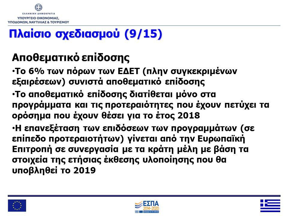 Πλαίσιοσχεδιασμού (9/15) Πλαίσιο σχεδιασμού (9/15) Αποθεματικό επίδοσης Το 6% των πόρων των ΕΔΕΤ (πλην συγκεκριμένων εξαιρέσεων) συνιστά αποθεματικό ε