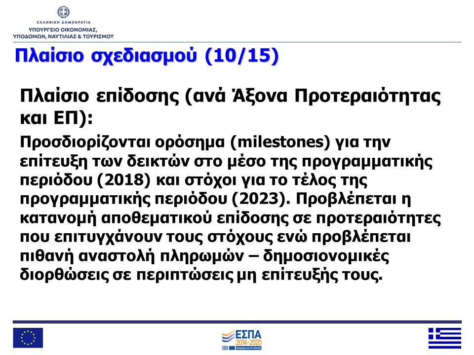 Πλαίσιοσχεδιασμού (10/15) Πλαίσιο σχεδιασμού (10/15) Πλαίσιο επίδοσης (ανά Άξονα Προτεραιότητας και ΕΠ): Προσδιορίζονται ορόσημα (milestones) για την