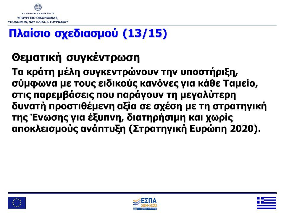 Πλαίσιοσχεδιασμού (13/15) Πλαίσιο σχεδιασμού (13/15) Θεματική συγκέντρωση Τα κράτη μέλη συγκεντρώνουν την υποστήριξη, σύμφωνα με τους ειδικούς κανόνες
