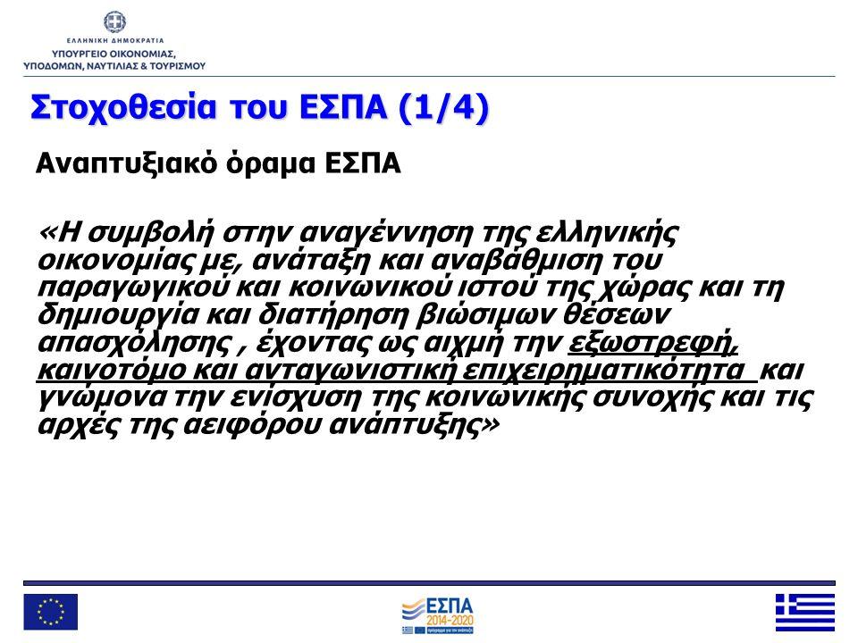 Στοχοθεσία του ΕΣΠΑ (1/4) Αναπτυξιακό όραμα ΕΣΠΑ «Η συμβολή στην αναγέννηση της ελληνικής οικονομίας με, ανάταξη και αναβάθμιση του παραγωγικού και κο