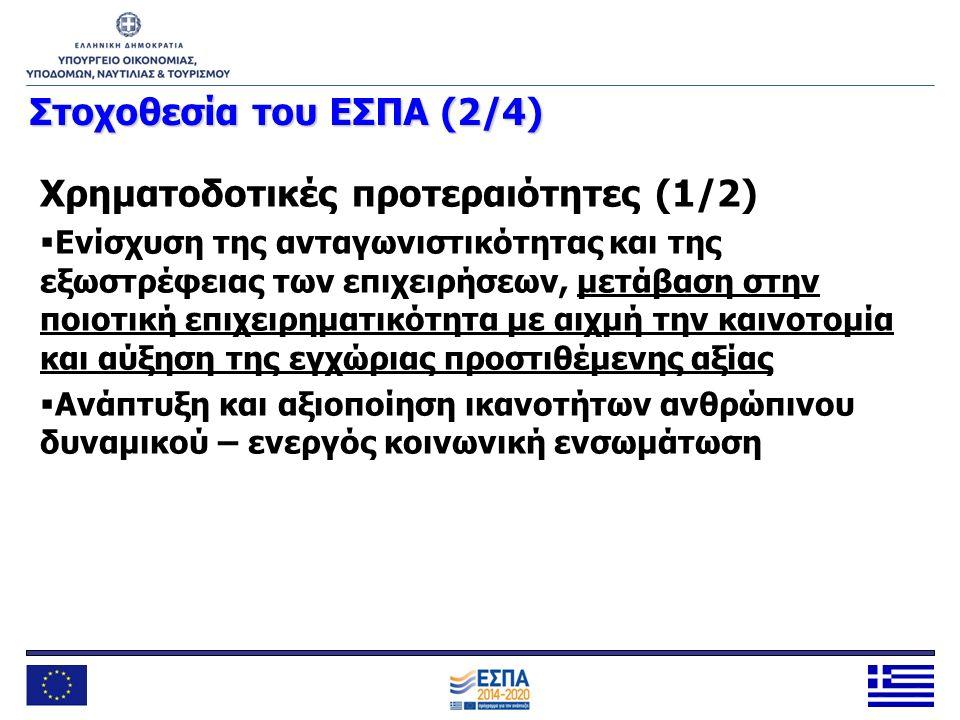 Στοχοθεσία του ΕΣΠΑ (2/4) Χρηματοδοτικές προτεραιότητες (1/2)  Ενίσχυση της ανταγωνιστικότητας και της εξωστρέφειας των επιχειρήσεων, μετάβαση στην π