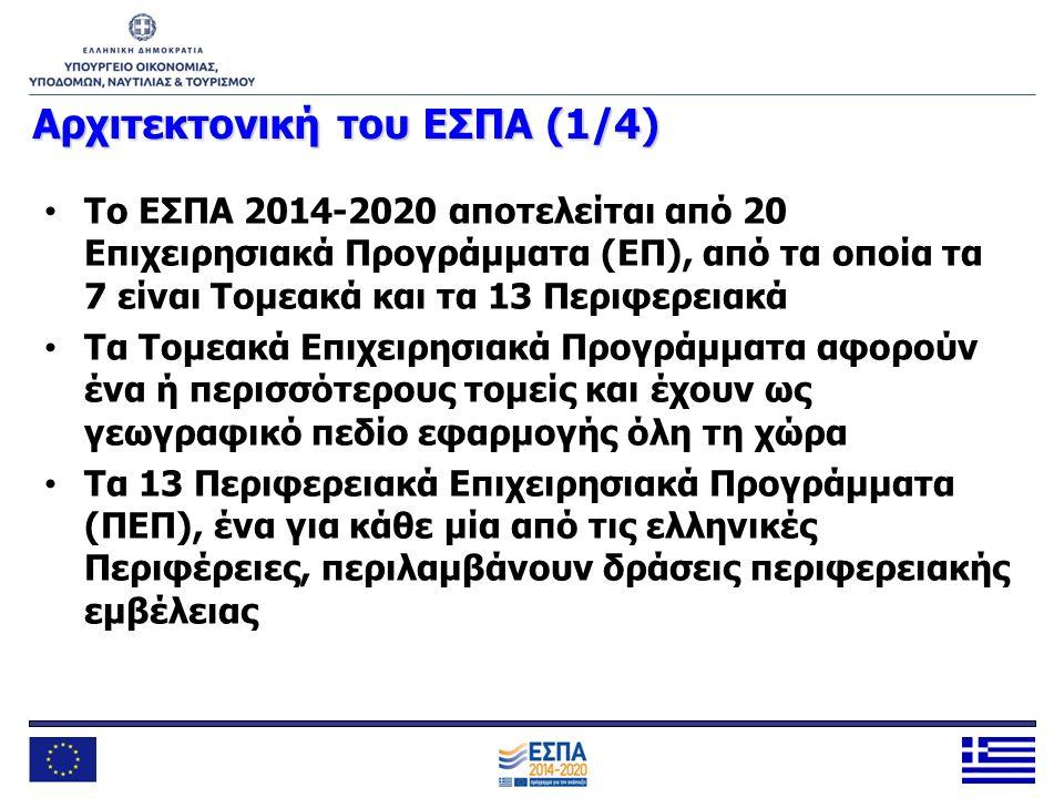 Αρχιτεκτονική του ΕΣΠΑ (1/4) Το ΕΣΠΑ 2014-2020 αποτελείται από 20 Επιχειρησιακά Προγράμματα (ΕΠ), από τα οποία τα 7 είναι Τομεακά και τα 13 Περιφερεια