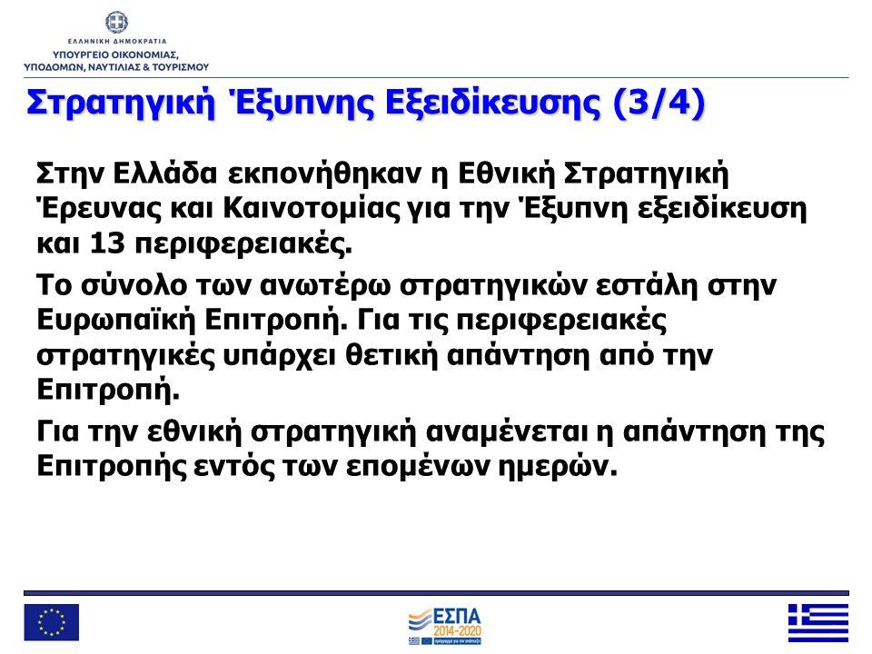Στρατηγική Έξυπνης Εξειδίκευσης (3/4) Στην Ελλάδα εκπονήθηκαν η Εθνική Στρατηγική Έρευνας και Καινοτομίας για την Έξυπνη εξειδίκευση και 13 περιφερεια
