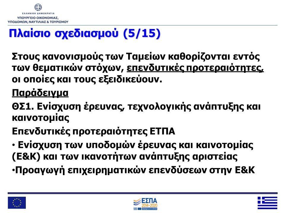 Πλαίσιοσχεδιασμού (6/15) Πλαίσιο σχεδιασμού (6/15) Μεγαλύτερη εστίαση στα αποτελέσματα Σαφής αποτύπωση της λογικής της παρέμβασης σε κάθε Επιχειρησιακό Πρόγραμμα (ΕΠ) Δείκτες αποτελέσματος που συμπεριλαμβάνουν την επιρροή παραγόντων εκτός των παρεμβάσεων του ΕΠ Θέσπιση αποθεματικού επίδοσης και ενδιάμεσων οροσήμων και στόχων (πλαίσιο επίδοσης) Ορισμός εκ των προτέρων αιρεσιμοτήτων (ex ante conditionalities) Θεματική συγκέντρωση
