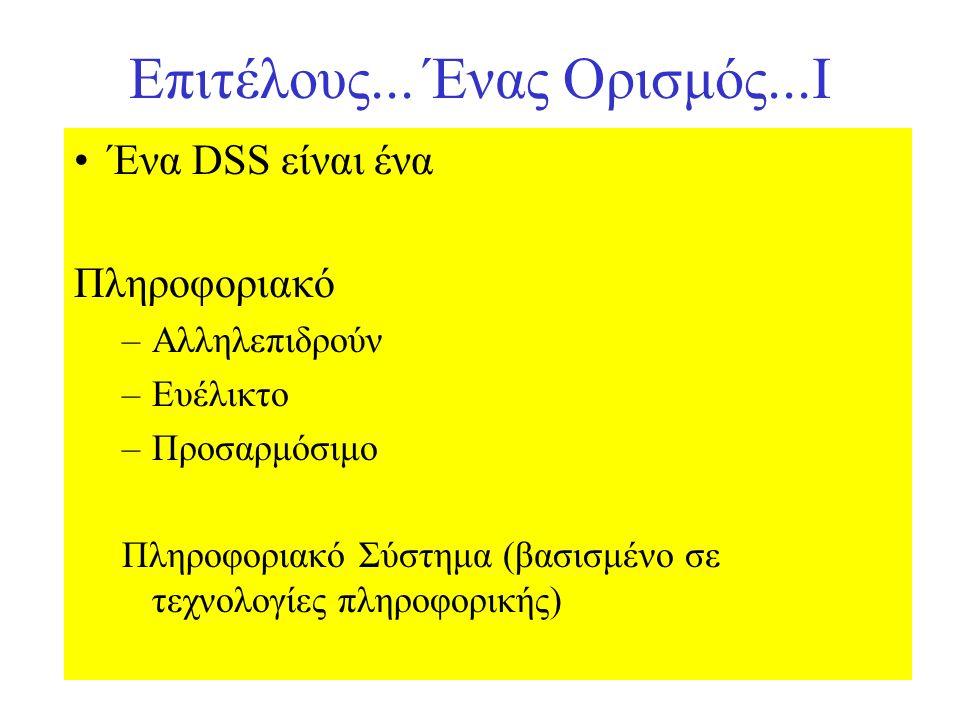 Επιτέλους... Ένας Ορισμός...Ι Ένα DSS είναι ένα Πληροφοριακό –Αλληλεπιδρούν –Ευέλικτο –Προσαρμόσιμο Πληροφοριακό Σύστημα (βασισμένο σε τεχνολογίες πλη
