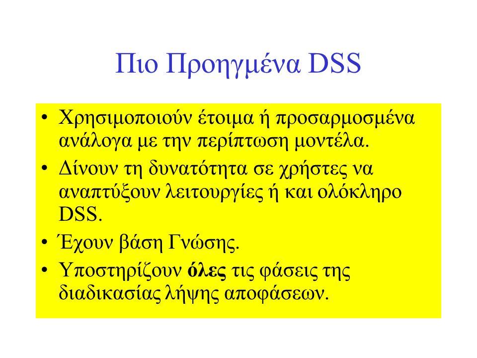 Πιο Προηγμένα DSS Χρησιμοποιούν έτοιμα ή προσαρμοσμένα ανάλογα με την περίπτωση μοντέλα. Δίνουν τη δυνατότητα σε χρήστες να αναπτύξουν λειτουργίες ή κ