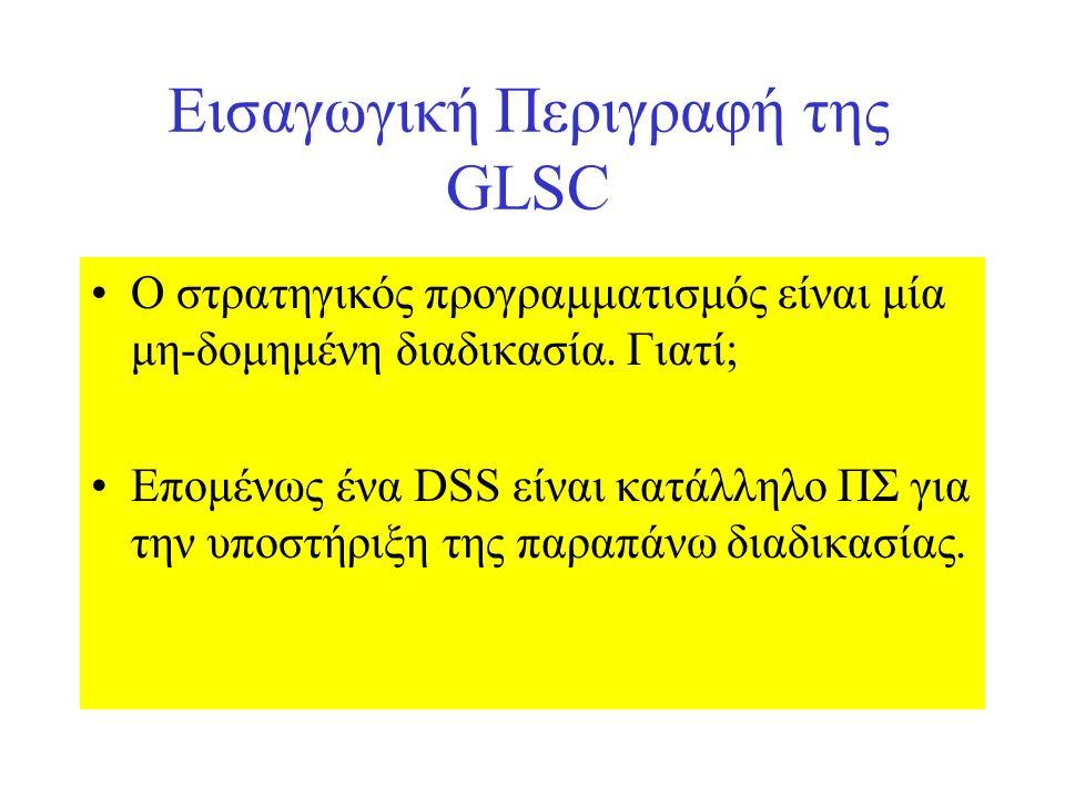 Εισαγωγική Περιγραφή της GLSC Ο στρατηγικός προγραμματισμός είναι μία μη-δομημένη διαδικασία. Γιατί; Επομένως ένα DSS είναι κατάλληλο ΠΣ για την υποστ