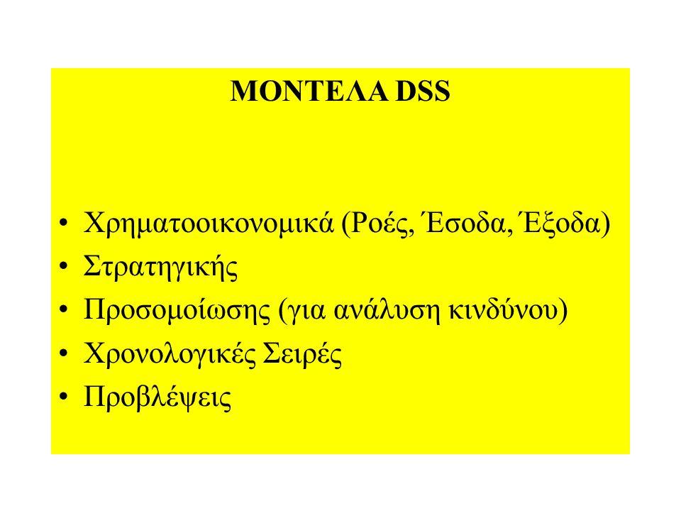 ΜΟΝΤΕΛΑ DSS Χρηματοοικονομικά (Ροές, Έσοδα, Έξοδα) Στρατηγικής Προσομοίωσης (για ανάλυση κινδύνου) Χρονολογικές Σειρές Προβλέψεις