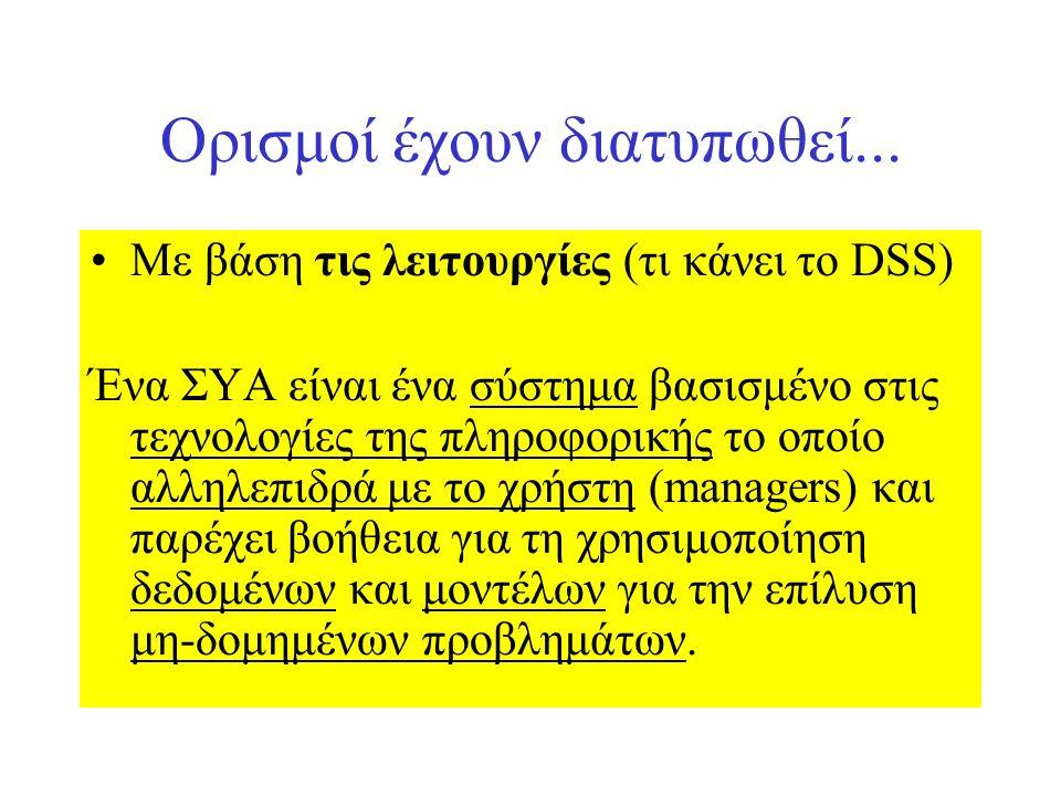 Ορισμοί έχουν διατυπωθεί... Με βάση τις λειτουργίες (τι κάνει το DSS) Ένα ΣΥΑ είναι ένα σύστημα βασισμένο στις τεχνολογίες της πληροφορικής το οποίο α