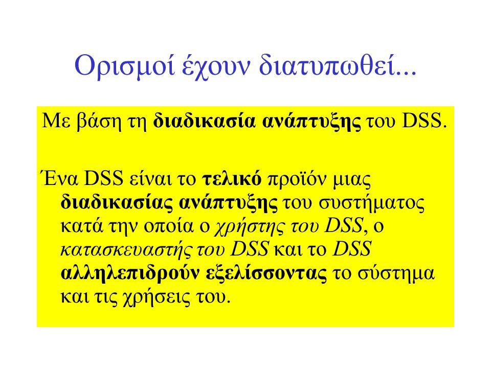 Ορισμοί έχουν διατυπωθεί... Με βάση τη διαδικασία ανάπτυξης του DSS. Ένα DSS είναι το τελικό προϊόν μιας διαδικασίας ανάπτυξης του συστήματος κατά την