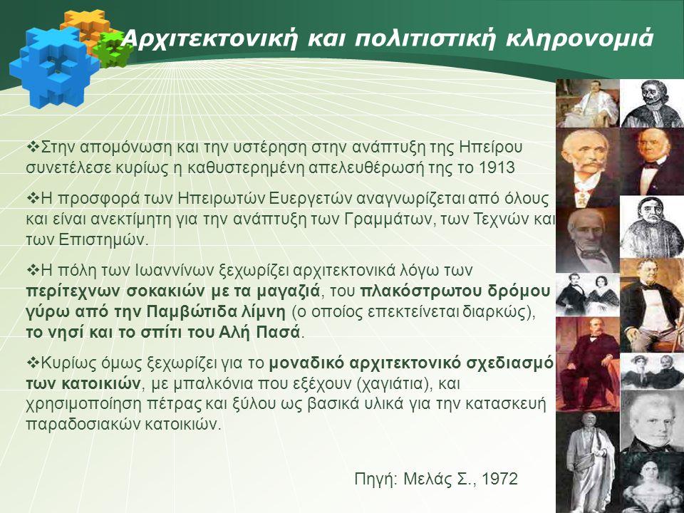 Πηγή: Μελάς Σ., 1972 Αρχιτεκτονική και πολιτιστική κληρονομιά  Στην απομόνωση και την υστέρηση στην ανάπτυξη της Ηπείρου συνετέλεσε κυρίως η καθυστερημένη απελευθέρωσή της το 1913  Η προσφορά των Ηπειρωτών Ευεργετών αναγνωρίζεται από όλους και είναι ανεκτίμητη για την ανάπτυξη των Γραμμάτων, των Τεχνών και των Επιστημών.
