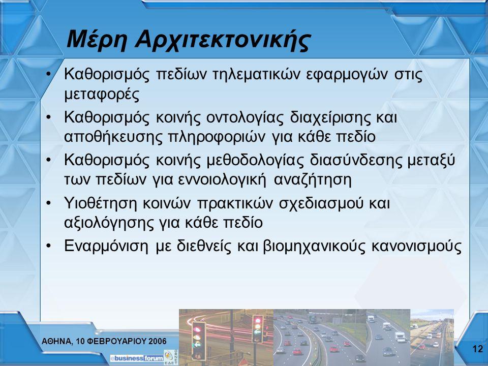 ΑΘΗΝΑ, 10 ΦΕΒΡΟΥΑΡΙΟΥ 2006 12 Μέρη Αρχιτεκτονικής Καθορισμός πεδίων τηλεματικών εφαρμογών στις μεταφορές Καθορισμός κοινής οντολογίας διαχείρισης και αποθήκευσης πληροφοριών για κάθε πεδίο Καθορισμός κοινής μεθοδολογίας διασύνδεσης μεταξύ των πεδίων για εννοιολογική αναζήτηση Υιοθέτηση κοινών πρακτικών σχεδιασμού και αξιολόγησης για κάθε πεδίο Εναρμόνιση με διεθνείς και βιομηχανικούς κανονισμούς