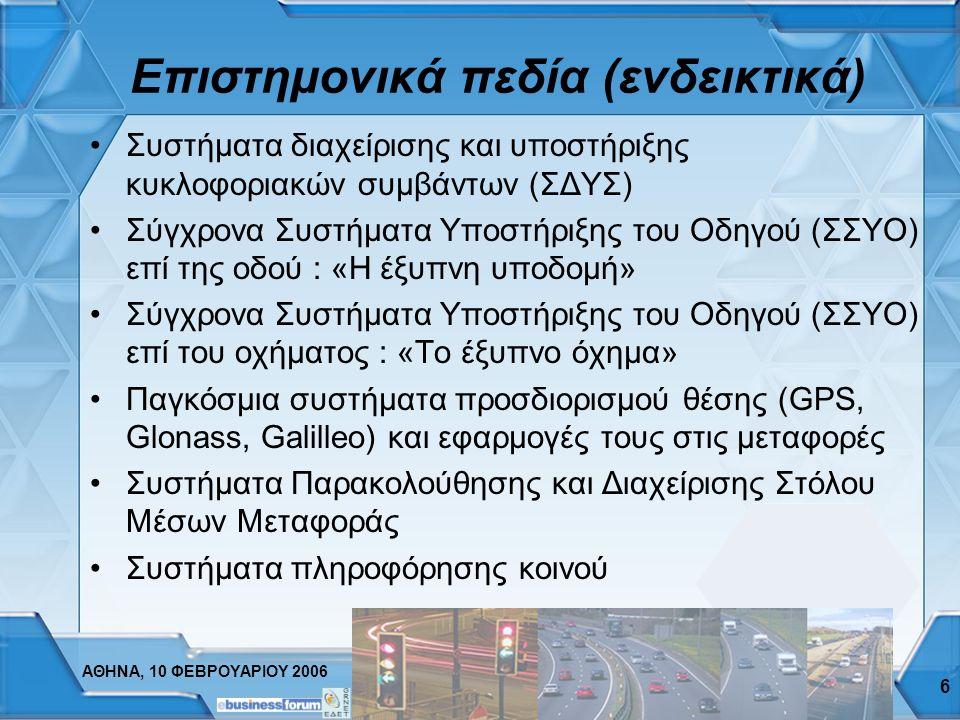 ΑΘΗΝΑ, 10 ΦΕΒΡΟΥΑΡΙΟΥ 2006 6 Επιστημονικά πεδία (ενδεικτικά) Συστήματα διαχείρισης και υποστήριξης κυκλοφοριακών συμβάντων (ΣΔΥΣ) Σύγχρονα Συστήματα Υποστήριξης του Οδηγού (ΣΣΥΟ) επί της οδού : «Η έξυπνη υποδομή» Σύγχρονα Συστήματα Υποστήριξης του Οδηγού (ΣΣΥΟ) επί του οχήματος : «Το έξυπνο όχημα» Παγκόσμια συστήματα προσδιορισμού θέσης (GPS, Glonass, Galilleo) και εφαρμογές τους στις μεταφορές Συστήματα Παρακολούθησης και Διαχείρισης Στόλου Μέσων Μεταφοράς Συστήματα πληροφόρησης κοινού