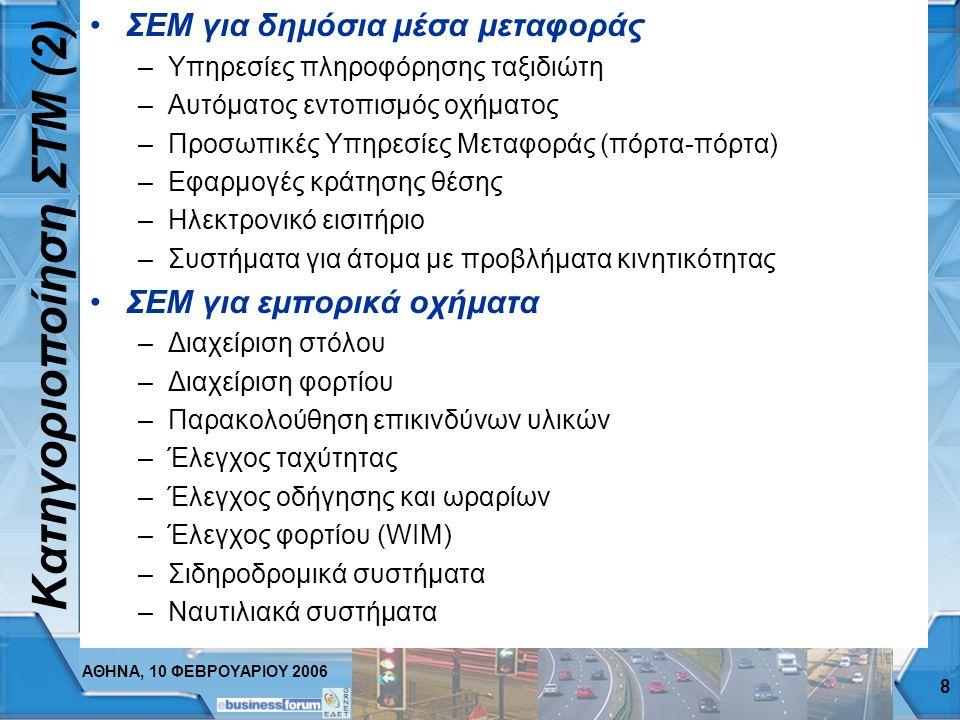 ΑΘΗΝΑ, 10 ΦΕΒΡΟΥΑΡΙΟΥ 2006 8 Κατηγοριοποίηση ΣΤΜ ( 2 ) ΣEΜ για δημόσια μέσα μεταφοράς –Υπηρεσίες πληροφόρησης ταξιδιώτη –Αυτόματος εντοπισμός οχήματος –Προσωπικές Υπηρεσίες Μεταφοράς (πόρτα-πόρτα) –Εφαρμογές κράτησης θέσης –Ηλεκτρονικό εισιτήριο –Συστήματα για άτομα με προβλήματα κινητικότητας ΣEΜ για εμπορικά οχήματα –Διαχείριση στόλου –Διαχείριση φορτίου –Παρακολούθηση επικινδύνων υλικών –Έλεγχος ταχύτητας –Έλεγχος οδήγησης και ωραρίων –Έλεγχος φορτίου (WIM) –Σιδηροδρομικά συστήματα –Ναυτιλιακά συστήματα