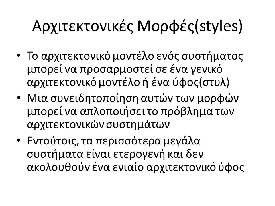 Αρχιτεκτονικές Mορφές(styles) Το αρχιτεκτονικό μοντέλο ενός συστήματος μπορεί να προσαρμοστεί σε ένα γενικό αρχιτεκτονικό μοντέλο ή ένα ύφος(στυλ) Μια συνειδητοποίηση αυτών των μορφών μπορεί να απλοποιήσει το πρόβλημα των αρχιτεκτονικών συστημάτων Εντούτοις, τα περισσότερα μεγάλα συστήματα είναι ετερογενή και δεν ακολουθούν ένα ενιαίο αρχιτεκτονικό ύφος