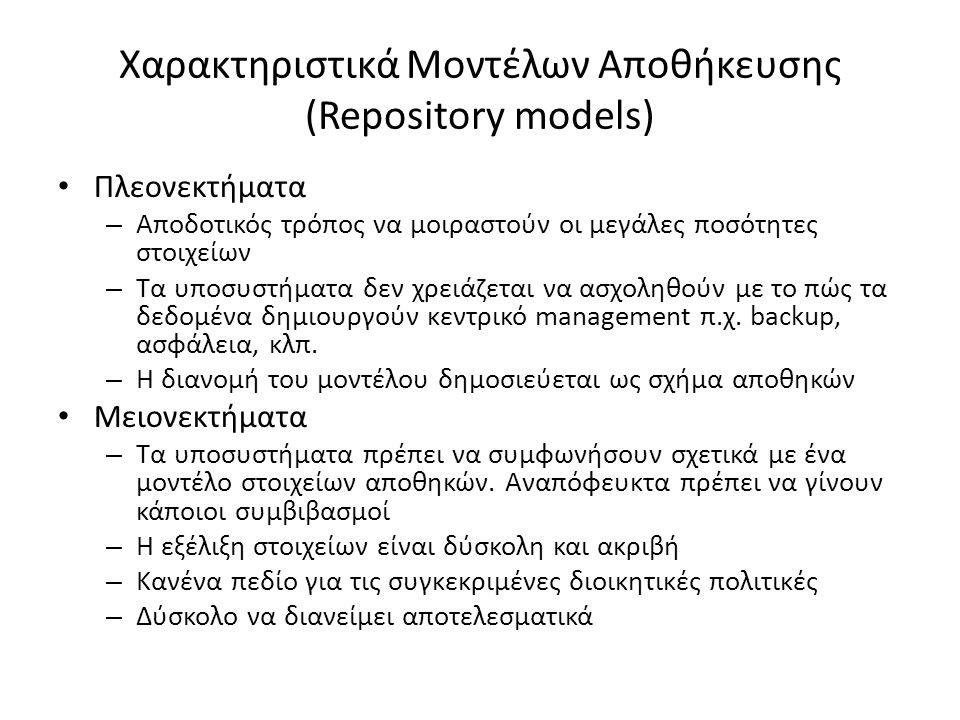 Χαρακτηριστικά Μοντέλων Αποθήκευσης (Repository models) Πλεονεκτήματα – Αποδοτικός τρόπος να μοιραστούν οι μεγάλες ποσότητες στοιχείων – Τα υποσυστήματα δεν χρειάζεται να ασχοληθούν με το πώς τα δεδομένα δημιουργούν κεντρικό management π.χ.