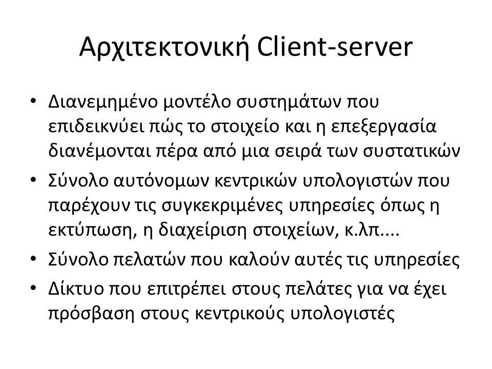 Αρχιτεκτονική Client-server Διανεμημένο μοντέλο συστημάτων που επιδεικνύει πώς το στοιχείο και η επεξεργασία διανέμονται πέρα από μια σειρά των συστατικών Σύνολο αυτόνομων κεντρικών υπολογιστών που παρέχουν τις συγκεκριμένες υπηρεσίες όπως η εκτύπωση, η διαχείριση στοιχείων, κ.λπ....