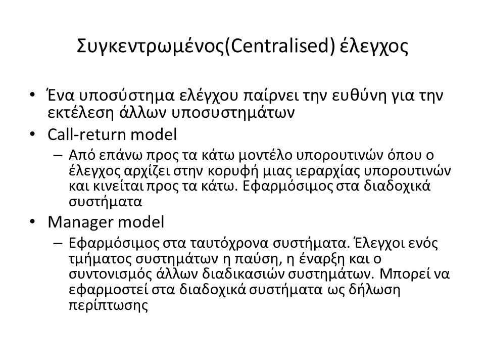 Συγκεντρωμένος(Centralised) έλεγχος Ένα υποσύστημα ελέγχου παίρνει την ευθύνη για την εκτέλεση άλλων υποσυστημάτων Call-return model – Από επάνω προς τα κάτω μοντέλο υπορουτινών όπου ο έλεγχος αρχίζει στην κορυφή μιας ιεραρχίας υπορουτινών και κινείται προς τα κάτω.