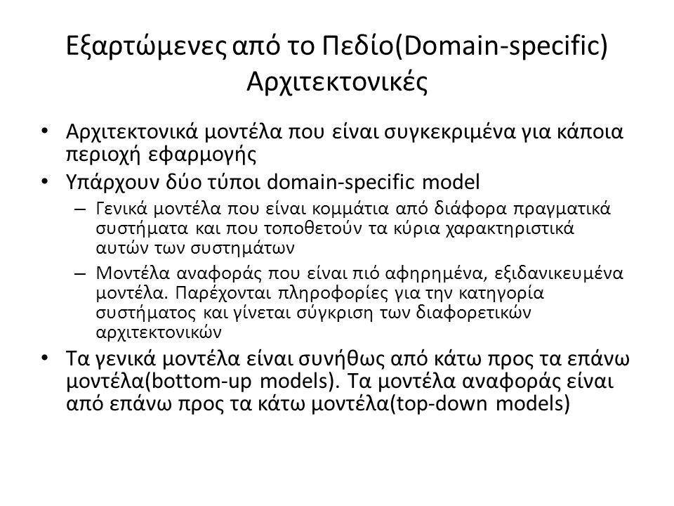 Εξαρτώμενες από το Πεδίο(Domain-specific) Αρχιτεκτονικές Αρχιτεκτονικά μοντέλα που είναι συγκεκριμένα για κάποια περιοχή εφαρμογής Υπάρχουν δύο τύποι domain-specific model – Γενικά μοντέλα που είναι κομμάτια από διάφορα πραγματικά συστήματα και που τοποθετούν τα κύρια χαρακτηριστικά αυτών των συστημάτων – Μοντέλα αναφοράς που είναι πιό αφηρημένα, εξιδανικευμένα μοντέλα.