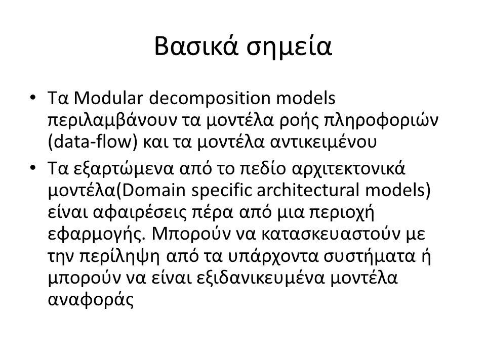 Βασικά σημεία Τα Modular decomposition models περιλαμβάνουν τα μοντέλα ροής πληροφοριών (data-flow) και τα μοντέλα αντικειμένου Τα εξαρτώμενα από το πεδίο αρχιτεκτονικά μοντέλα(Domain specific architectural models) είναι αφαιρέσεις πέρα από μια περιοχή εφαρμογής.
