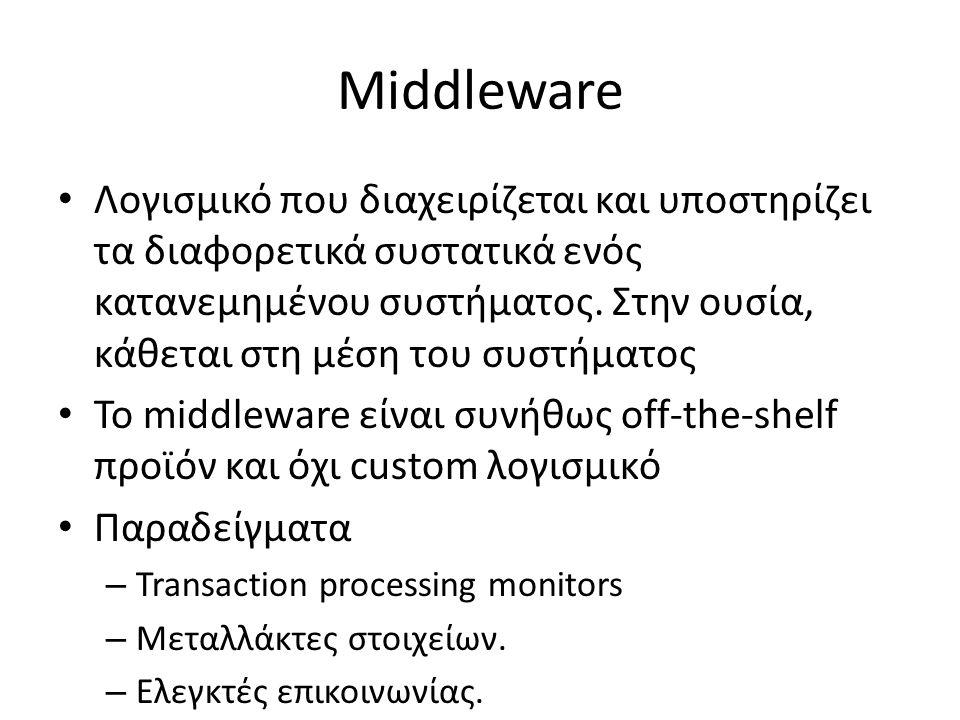 Middleware Λογισμικό που διαχειρίζεται και υποστηρίζει τα διαφορετικά συστατικά ενός κατανεμημένου συστήματος.
