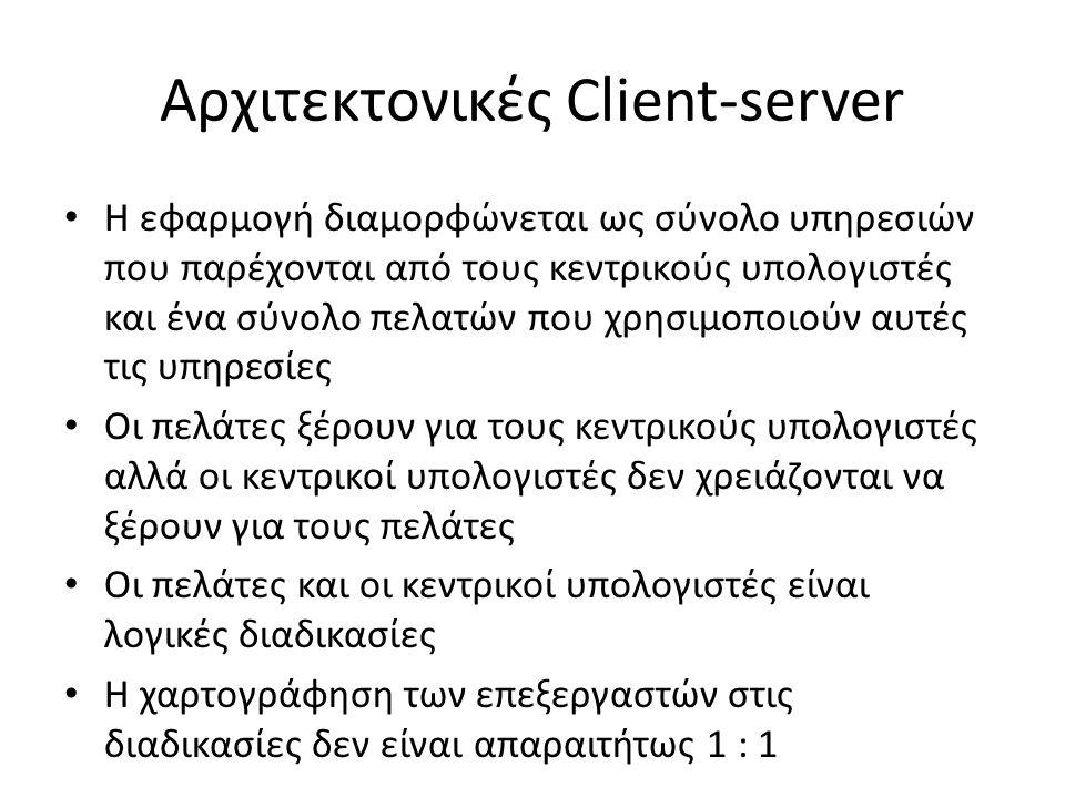 Αρχιτεκτονικές Client-server Η εφαρμογή διαμορφώνεται ως σύνολο υπηρεσιών που παρέχονται από τους κεντρικούς υπολογιστές και ένα σύνολο πελατών που χρησιμοποιούν αυτές τις υπηρεσίες Οι πελάτες ξέρουν για τους κεντρικούς υπολογιστές αλλά οι κεντρικοί υπολογιστές δεν χρειάζονται να ξέρουν για τους πελάτες Οι πελάτες και οι κεντρικοί υπολογιστές είναι λογικές διαδικασίες Η χαρτογράφηση των επεξεργαστών στις διαδικασίες δεν είναι απαραιτήτως 1 : 1