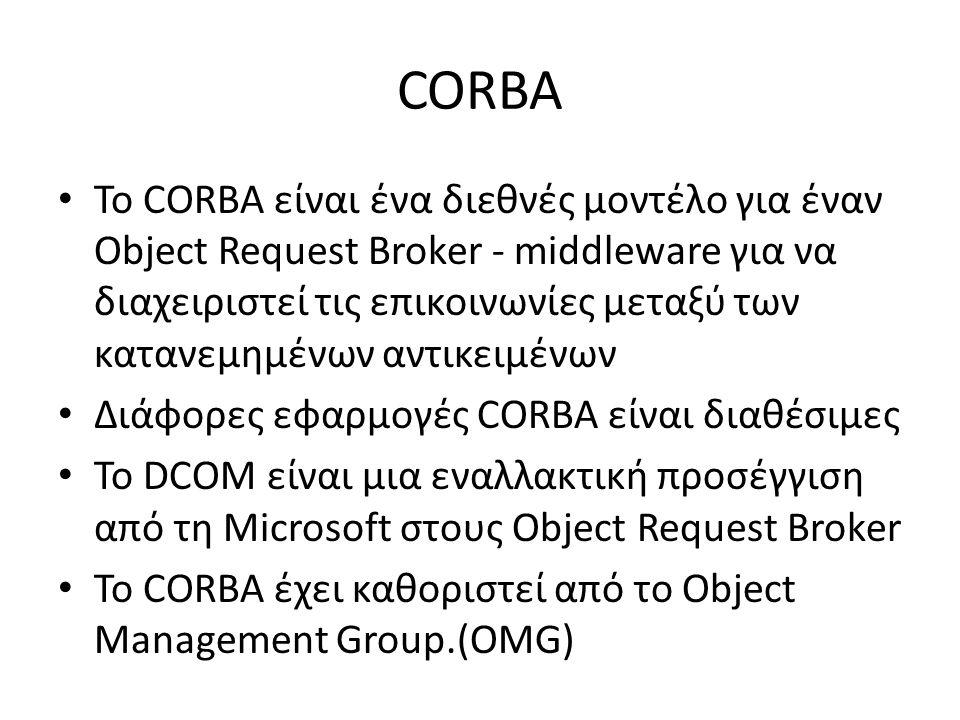 CORBA Το CORBA είναι ένα διεθνές μοντέλο για έναν Object Request Broker - middleware για να διαχειριστεί τις επικοινωνίες μεταξύ των κατανεμημένων αντικειμένων Διάφορες εφαρμογές CORBA είναι διαθέσιμες Το DCOM είναι μια εναλλακτική προσέγγιση από τη Microsoft στους Object Request Broker Το CORBA έχει καθοριστεί από το Object Management Group.(OMG)