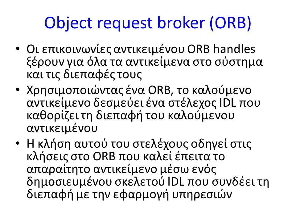 Object request broker (ORB) Οι επικοινωνίες αντικειμένου ORB handles ξέρουν για όλα τα αντικείμενα στο σύστημα και τις διεπαφές τους Χρησιμοποιώντας ένα ORB, το καλούμενο αντικείμενο δεσμεύει ένα στέλεχος IDL που καθορίζει τη διεπαφή του καλούμενου αντικειμένου Η κλήση αυτού του στελέχους οδηγεί στις κλήσεις στο ORB που καλεί έπειτα το απαραίτητο αντικείμενο μέσω ενός δημοσιευμένου σκελετού IDL που συνδέει τη διεπαφή με την εφαρμογή υπηρεσιών