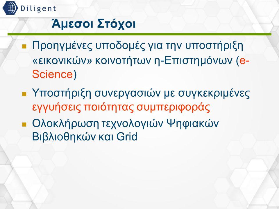 25 Άμεσοι Στόχοι Προηγμένες υποδομές για την υποστήριξη «εικονικών» κοινοτήτων η-Επιστημόνων (e- Science) Υποστήριξη συνεργασιών με συγκεκριμένες εγγυ