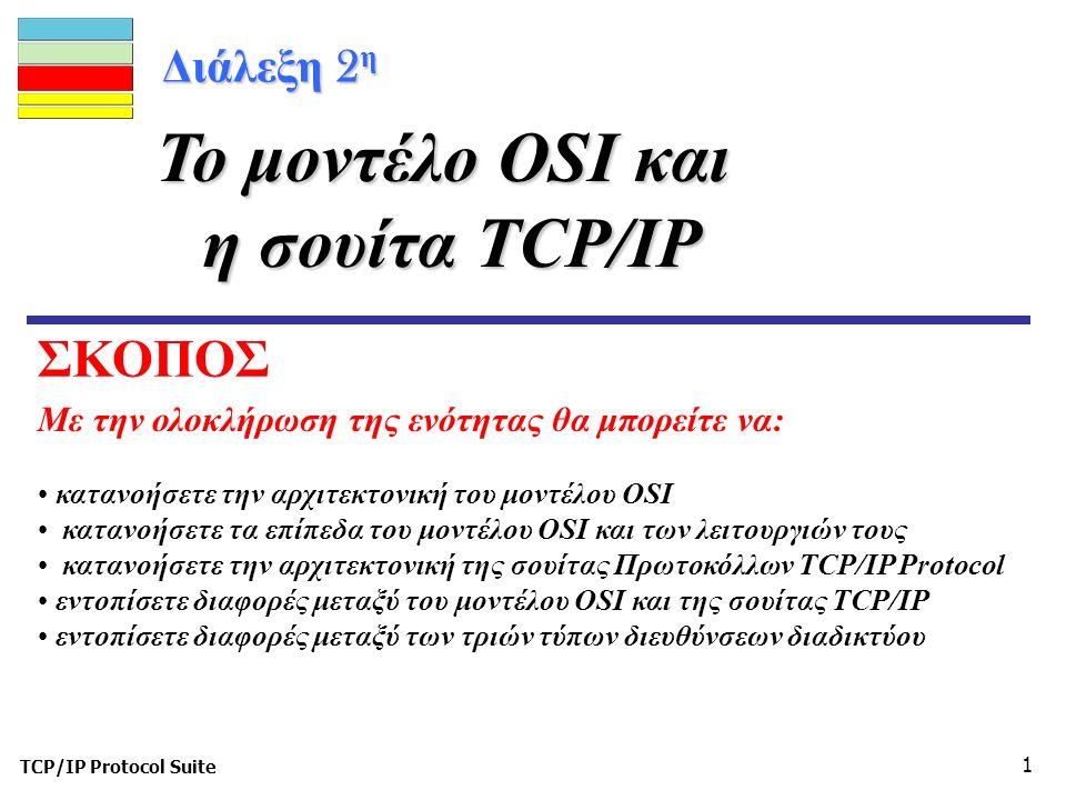 TCP/IP Protocol Suite 1 Διάλεξη 2 η Με την ολοκλήρωση της ενότητας θα μπορείτε να: Το μοντέλο OSI και η σουίτα TCP/IP κατανοήσετε την αρχιτεκτονική του μοντέλου OSI κατανοήσετε τα επίπεδα του μοντέλου OSI και των λειτουργιών τους κατανοήσετε την αρχιτεκτονική της σουίτας Πρωτοκόλλων TCP/IP Protocol εντοπίσετε διαφορές μεταξύ του μοντέλου OSI και της σουίτας TCP/IP εντοπίσετε διαφορές μεταξύ των τριών τύπων διευθύνσεων διαδικτύου ΣΚΟΠΟΣ