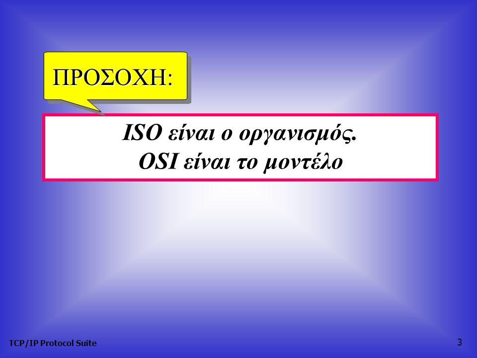 TCP/IP Protocol Suite 3 ISO είναι ο οργανισμός. OSI είναι το μοντέλο ΠΡΟΣΟΧΗ: