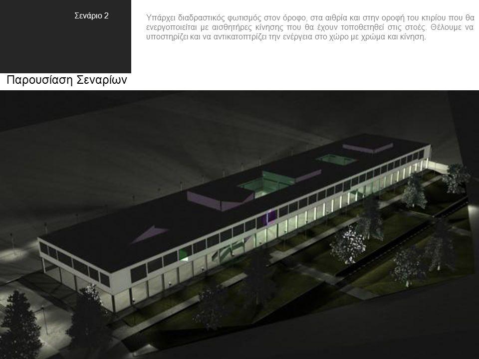 Παρουσίαση Σεναρίων Υπάρχει διαδραστικός φωτισμός στον όροφο, στα αιθρία και στην οροφή του κτιρίου που θα ενεργοποιείται με αισθητήρες κίνησης που θα έχουν τοποθετηθεί στις στοές.